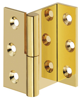Cranked Hinge, for Butting, Overlay Doors, Brass