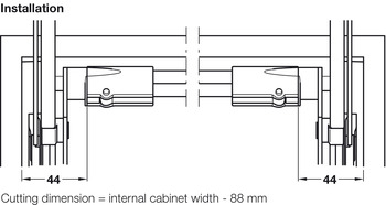 Cross Rail, for Connecting Both Fitting Components, for all Free Family Flap Fittings