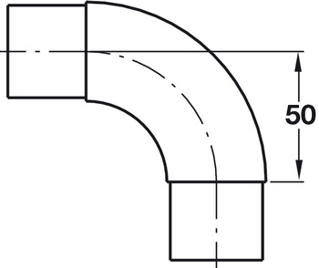 Curved Corner Connector, 90°, Bar Railing System