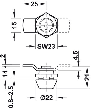 Cylinder Cam Lock, with Cranked Cam and Nut Attachment