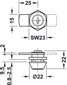 Cylinder Cam Lock, with Straight Cam and Nut Attachment