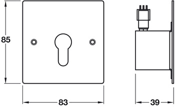 Cylinder Key Switch, Momentary Contact, Stainless Steel Faceplate