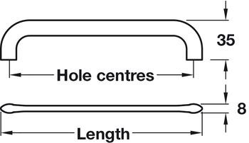 D Handle, Zinc Alloy, Fixing Centres 64-320 mm, Curly