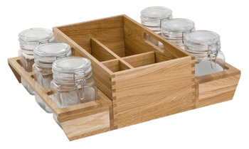 Deep Drawer Organiser, with Square Storage Jars, for Drawer Width from 600 mm