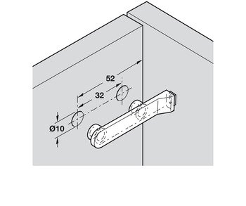 Door Buffer, with Two Dowels, Plastic with PVC Buffer
