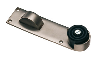 Door Stop and Holder, Floor, for Doors up to 54 mm Thick, Brass, Rubber Buffer