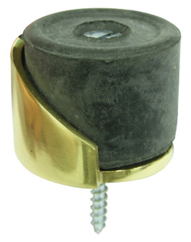 Door Stop, Floor Mounted, Ø 38 mm, Brass, Rubber Buffer