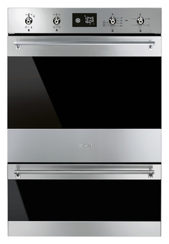 Double Oven, Multifunction with Pyrolitic Cleaning, 600 mm, Smeg Classic