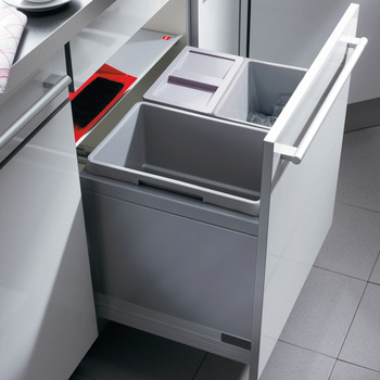 Drawer Box Waste Bin, for Door Front Mounting, 2x 13 and 1x 30 Litres, Tall Version, Triple-XL, Hailo