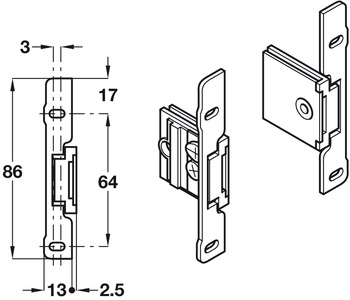 Drawer Front Fixing Components, Clip-on Fixing, for Grass Sides