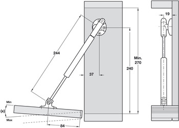 Drop Down Flap Stay, Automatic Opening, 244 mm Version, for Wooden/Aluminium Frame Doors