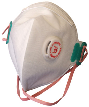 Dust Mask, Disposable, Fold Flat, P2, with Exhalation Valve