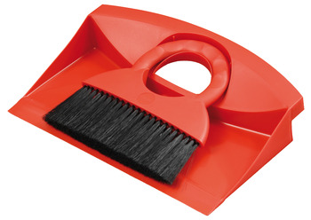 Dust Pan and Brush Set, Flat Design, Red Plastic, Hailo