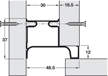 End Profile, for Vertical Fixing between Cabinet and Door, Gola System D