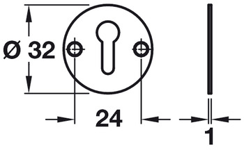 Escutcheons, Standard Keyway, With/Without Cover, Brass