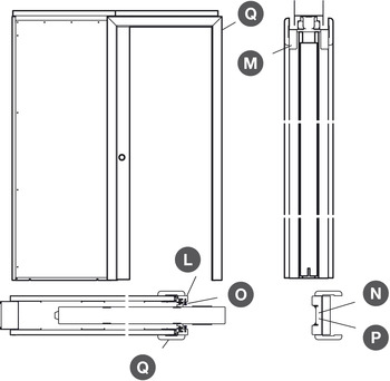 Finishing Kit, for 1 Door, for Sliding Interior Pocket Doors, Slido 80/160-B Pocket