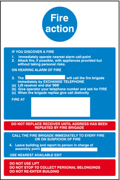 Fire Action Mandatory Sign, 300 x 200 mm, Rigid Plastic