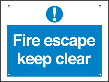 Fire Escape/Exit Mandatory Sign, 1 mm Thick, Rigid Plastic