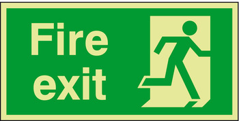 Fire Exit Only Sign, Photoluminescent, 300 x 200 x 1.3 mm Thick, Rigid Plastic