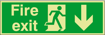 Fire Safety Sign, Fire Exit, Photoluminescent, 600 x 150 mm x 1.3 mm Thick, Rigid Plastic