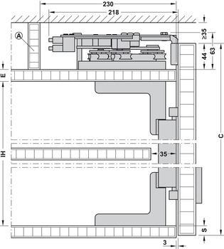Installation dimensions for wall unit
