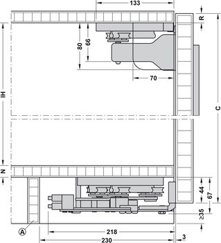 Installation dimensions for base unit