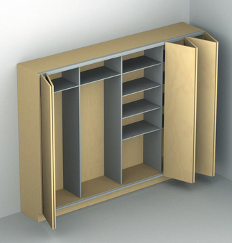 Fitting Set, for Folding Cabinet Doors, Hawa-Multifold 30 Floating