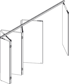 Fitting Set, for Folding Interior Doors, Hawa-Centerfold 80/H