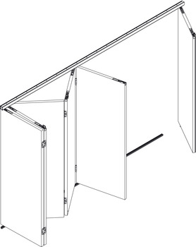Fitting Set, for Folding Interior Doors, Hawa-Variofold 80/H