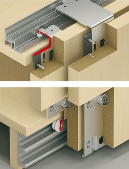 Fitting Set, for Sliding Cabinet and Wardrobe Doors, Eku Combino 45 H Forslide