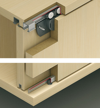 Fitting Set, for Sliding Cabinet Doors, Eku-Clipo 16 H