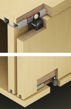 Fitting Set, for Sliding Cabinet Doors, Eku Clipo 36 H