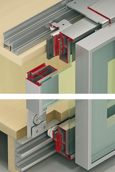 Fitting Set, for Sliding Cabinet Doors, Eku-Combino 45 GR FS