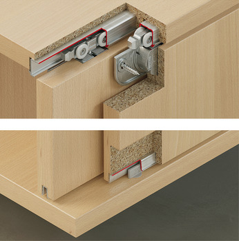 Fitting Set, for Sliding Cabinet Doors, Slido Classic 40 IF C