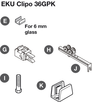 Fitting Set, for Sliding Glass Cabinet Doors, Eku-Clipo 36 GPK/GPPK