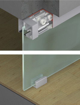 Fitting Set, for Sliding Glass Interior Doors, Eku-Porta 100 GW