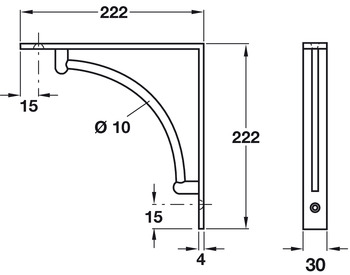 Fixed Bracket, Wall Fixing, Decorative, for Wooden Shelves