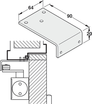 Fixing Bracket, for Parallel Arm Installation, for DCL 11/15/51 Door Closers, Startec