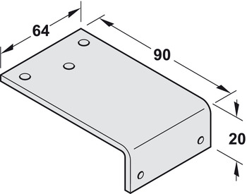 Fixing Bracket, for Parallel Arm Installation, for DCL 11/15/51 Door Closers