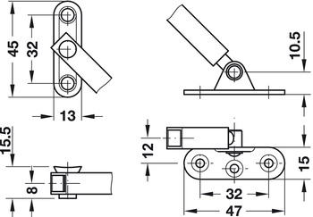 Flap Stay, Fall-Ex, with Braking Mechanism