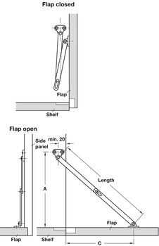 Flap Stay, with Slotted Centre Joint