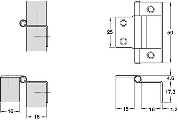 Flush Hinge, Cranked, 15-16 mm Door Thickness, Steel