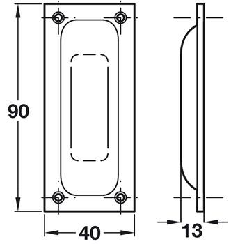 Flush Pull Handle 40 X 90mm Aluminium For Timber Sliding Doors-Satin Anodised