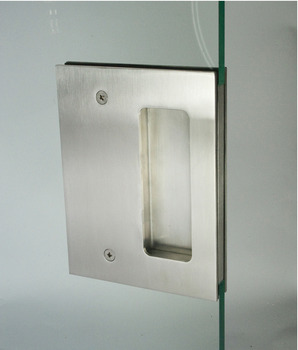 Flush Pull Handle, to Suit 10-12 mm Glass Thickness, Aluminium