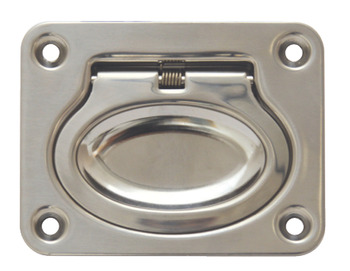 Flush Ring Pull Handle, Sprung, 75 x 58 mm, Stainless Steel