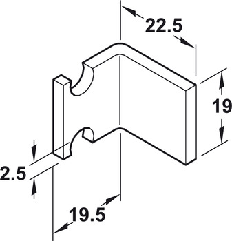 Follower Bracket, for Sliding Cabinet Doors, Slido F-Line42 50A