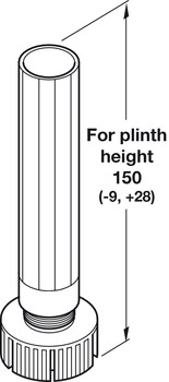 Foot and Shaft Section, for 100 to 150 mm Plinth Heights, Plastic