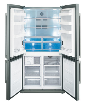 Fridge-Freezer, Freestanding, American Style, Four Door with Convertible Compartment, with LCD Touch Display, Smeg
