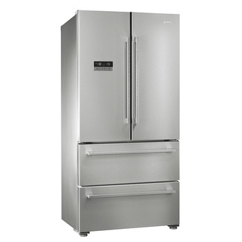 Fridge-Freezer , Freestanding, American Style, Two Door and Two Drawer, Total Capacity 605 Litres, Smeg