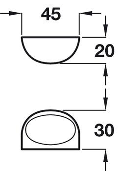 Furniture Handle, Zinc Alloy, 45 mm, Lela